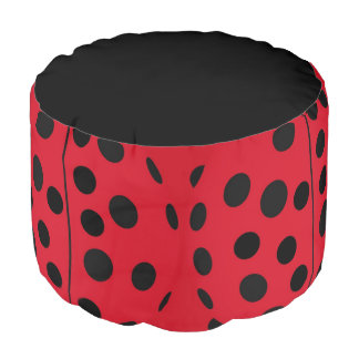 Lady Bug Red and Black Design Pouf
