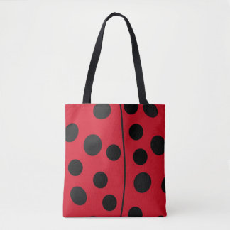 Lady Bug Red and Black Design Tote Bag