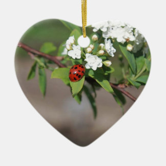 Lady Bug resting near so white flowers in bloom Ceramic Heart Ornament