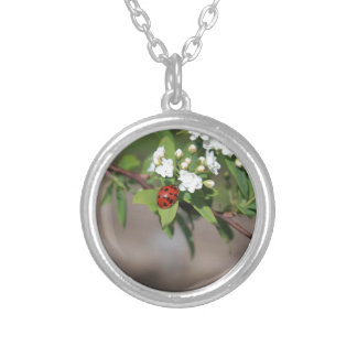 Lady Bug resting near so white flowers in bloom Silver Plated Necklace