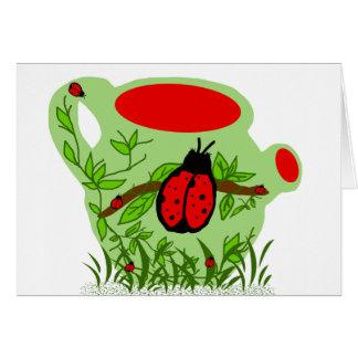 Lady bug tea pot blank card