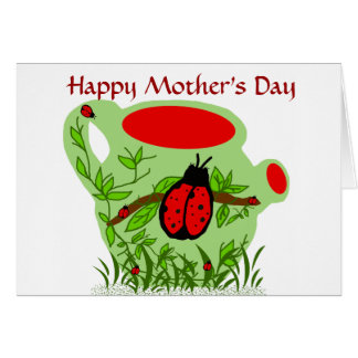Lady bug tea pot, Happy Mother's Day card