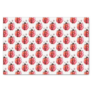 Lady Bug Watercolors Illustration Seamless Pattern Tissue Paper