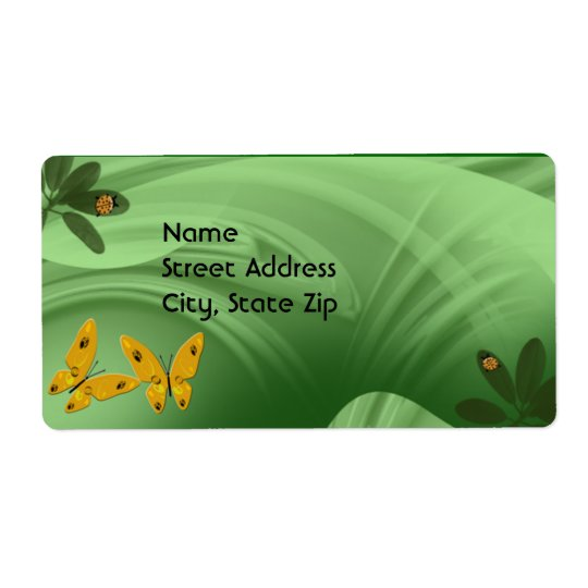 Lady Bugs and Butterflies In The Green Shipping Label