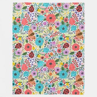 Lady Bugs and Flowers Fleece Blanket