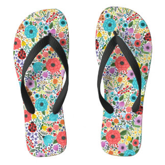 Lady Bugs and Flowers Flip Flops
