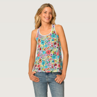 Lady Bugs and Flowers Tank Top