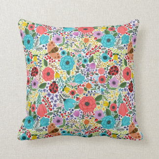 Lady Bugs and Flowers Throw Pillow