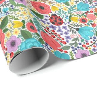 Lady Bugs and Flowers Wrapping Paper