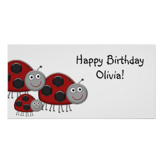 Lady Bugs Birthday Party Banner Poster