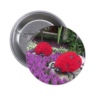 Lady BUGS n pink FLOWERS Butterfly Garden Gifts 2 Inch Round Button