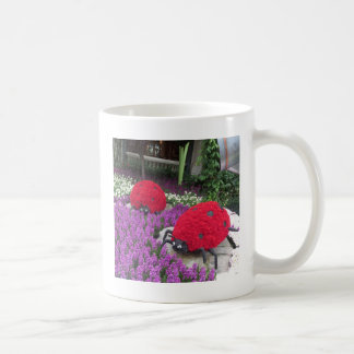 Lady BUGS n pink FLOWERS Butterfly Garden Gifts Classic White Coffee Mug