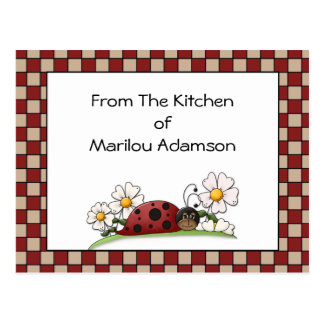 Lady Bugs Recipe Cards Postcard
