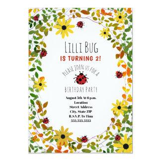 Lady Bugs + Wildflowers Girls Birthday Invite