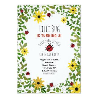Lady Bugs + Wildflowers Girls Birthday Party Card