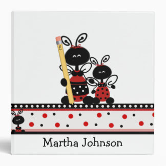 Lady Bugs with Pencil Teacher's Class Planner Vinyl Binder