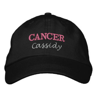 Lady Cancer Zodiac Pink Star Sign Embroidered Baseball Cap