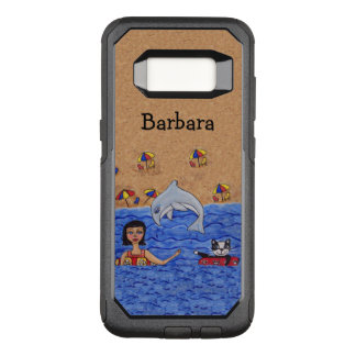 Lady Cat Dolphin Swimming in Ocean Sandy Beach OtterBox Commuter Samsung Galaxy S8 Case