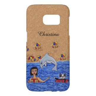 Lady Cat Inner Tubes in Ocean Jumping Gray Dolphin Samsung Galaxy S7 Case