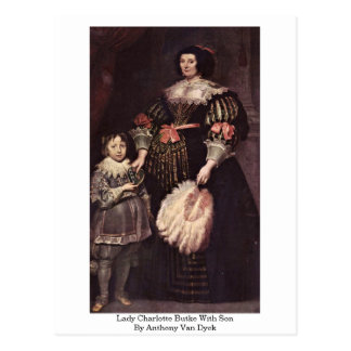Lady Charlotte Butke With Son By Anthony Van Dyck Postcard