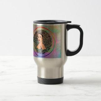 lady colorful travel mug