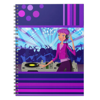 Lady DJ in club Photo Notebook (80 Pages B&W)