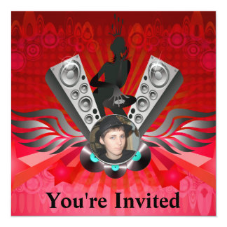 "Lady DJ Speakers Pumping Add Your Photo 5.25"" Square Invitation Card"