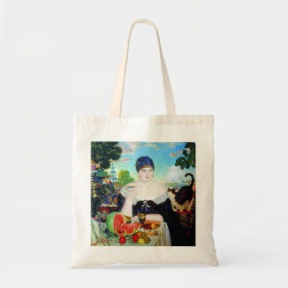 Lady Drinking Tea with Cat Budget Tote Bag