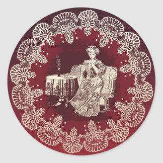 lady drinks tea classic round sticker
