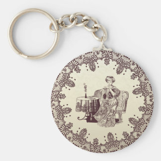 lady drinks tea keychain
