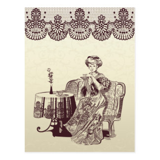 lady drinks tea postcard