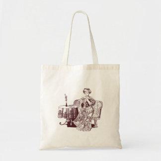 lady drinks tea tote bag