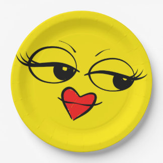 Lady Eyes Red Lips Smiley Face Funny Emoji Party 9 Inch Paper Plate