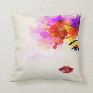 Lady Face with Full Makeup Throw Pillow
