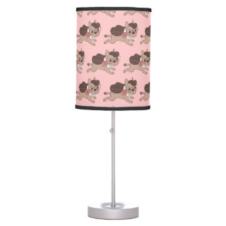 Lady Frenchie is going out for a walk Table Lamp