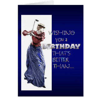 lady golfer birthday greeting card