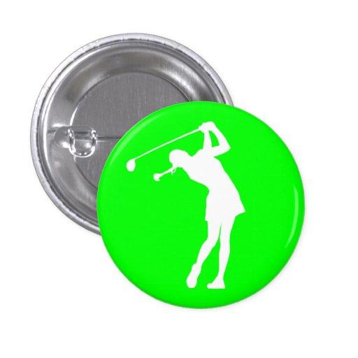 Lady Golfer Silhouette Button Green