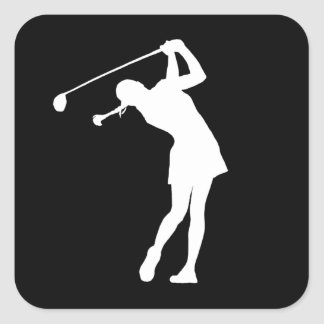 Lady Golfer Silhouette Sticker Black