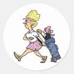 Lady Golfer Tshirts and Gifts Round Sticker
