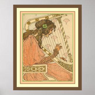 Lady & Harp Art Nouveau Print 16 x 20