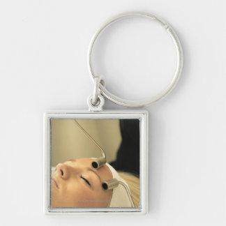Lady having face massage keychain