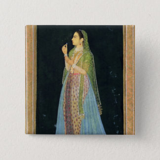 Lady holding a blossom, from the Small Clive Album 2 Inch Square Button