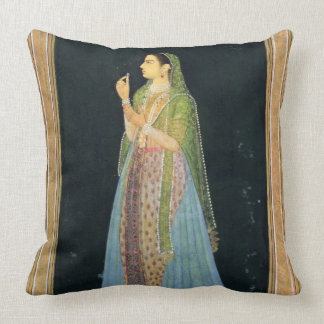 Lady holding a blossom, from the Small Clive Album Throw Pillow