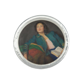 Lady Holding a Book Photo Ring