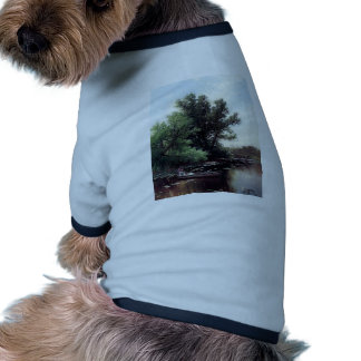 Lady in a boat antique painting pet t shirt