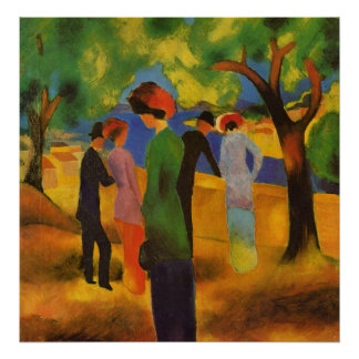 Lady in a green jacket by August Macke Poster
