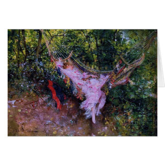 Lady in A Hammock in Pink Dress Greeting Card