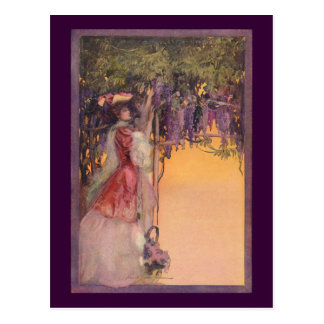 Lady in a Wisteria Garden Postcard