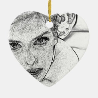 Lady in Black and White Ceramic Heart Ornament