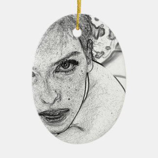 Lady in Black and White Ceramic Oval Ornament
